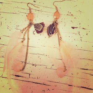 Feather and beaded long earrings